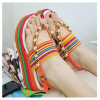 Women Chunky Heel EVA Wholesale-New 2015 summer Rainbow printing women sandal sandalias femininas platform sandals candy color sandalia shoes woman wedges