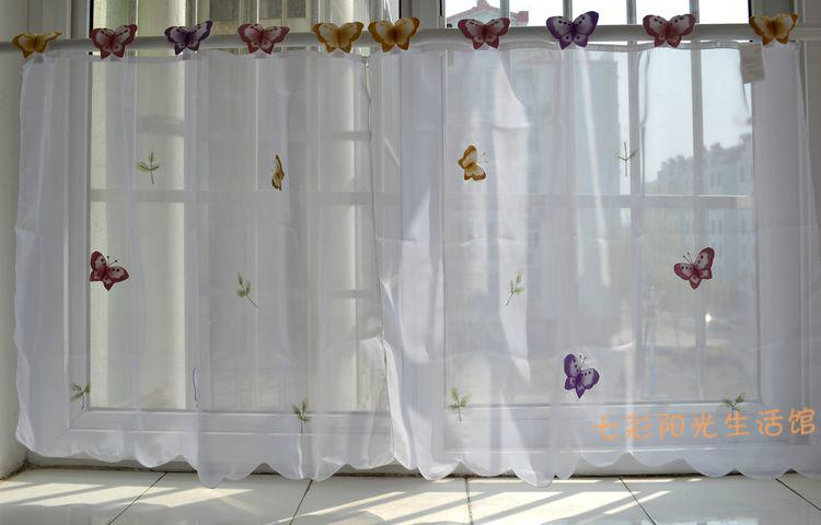 2017 Wholesale Small Butterfly Sheer Curtain White Kitchen ...