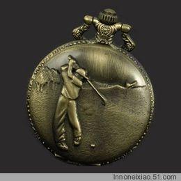 Wholesale fashion watch Antique Bronze Golfer Hitting a Golf Ball Pocket Watch T997