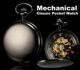 Wholesale Classic Watches Black Stainless Steel Smooth Case Full Hunter Mens Hand Winding Mechanical Pocket Watch Steampunk Women Gifts