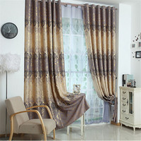 Wholesale modern style high quality shade cloth curtians two sides printing blackout jacquard curtains for living room bedroom balcony
