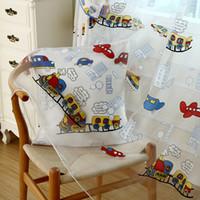 100% Polyester baby room curtains - Cartoon curtain yarn trains design window screening sheer for baby room kids room