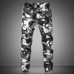 Wholesale New Trendy mens white Camo Joggers Man street Dancing sweatpants Army jungle green joggers Plus size XL XL trousers JA269