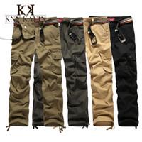 Gros-2015 Nouvelle Arrivée Pantalons Marque Mens Cargo militaire pour homme Plus de poches zippées Pantalon extérieur Salopette Plus Size Pants Armée