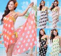 beach towels striped - Fashion Hot beach dress Sexy South Korea Chiffon Beach Towels Gauze Scarf Veil Dot Cover Ups S09