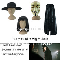 Wholesale set V for Vendetta Guy Fawkes Anonymous fancy dress cosplay halloween costumes novelties hat hair V mask Cloak