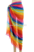 Wholesale Colors of rainbow print better sell beach sarong sun block pareo women bikini cover up S71