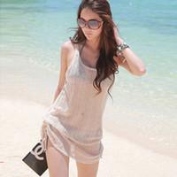 achat en gros de plage gaze robe gros-Gros-femmes Gaze Voir au travers débardeurs sans manches Smock Bikini Cover Up Beach Dress