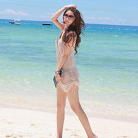 achat en gros de plage gaze robe gros-Gros-femmes Gauze Voir au travers débardeurs manches Smock Bikini Cover Up Robe de plage