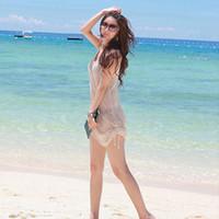 Wholesale Women Gauze See Through Sleeveless Smock Bikini Cover Up Beach Dress Tank Tops