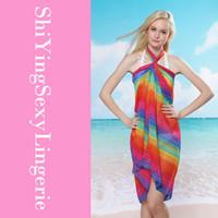 Wholesale Hot Vacation Rhodes Rainbow Print Summer Women Sarong Cover Ups Scarf Beach Dress LC40711