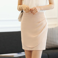 Wholesale Fashion korean casual solid color slim thin package hip step skirt female work wear plus size skirt Black Apricot Nary