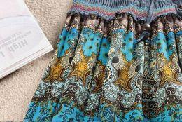Promotion bohême plissé jupe longue Gros-Free Navire 2015 Été Automne taille élastique plissée imprimé floral Femmes en mousseline de soie longues femmes Jupe Mode Bohême Plage Jupes