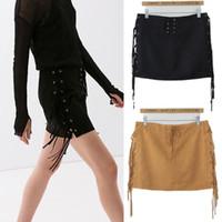 Wholesale autumn new women s Suede fringed skirt slim tassel skirt