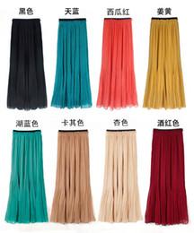 Gros-mode jupe longue en mousseline de soie plissée plage pleine jupes Bohême à partir de bohême plissé jupe longue fabricateur