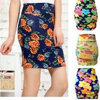 beautiful steps - Woman Slim hip skirt vintage floral print step skirt slim fashion beautiful female short skirt