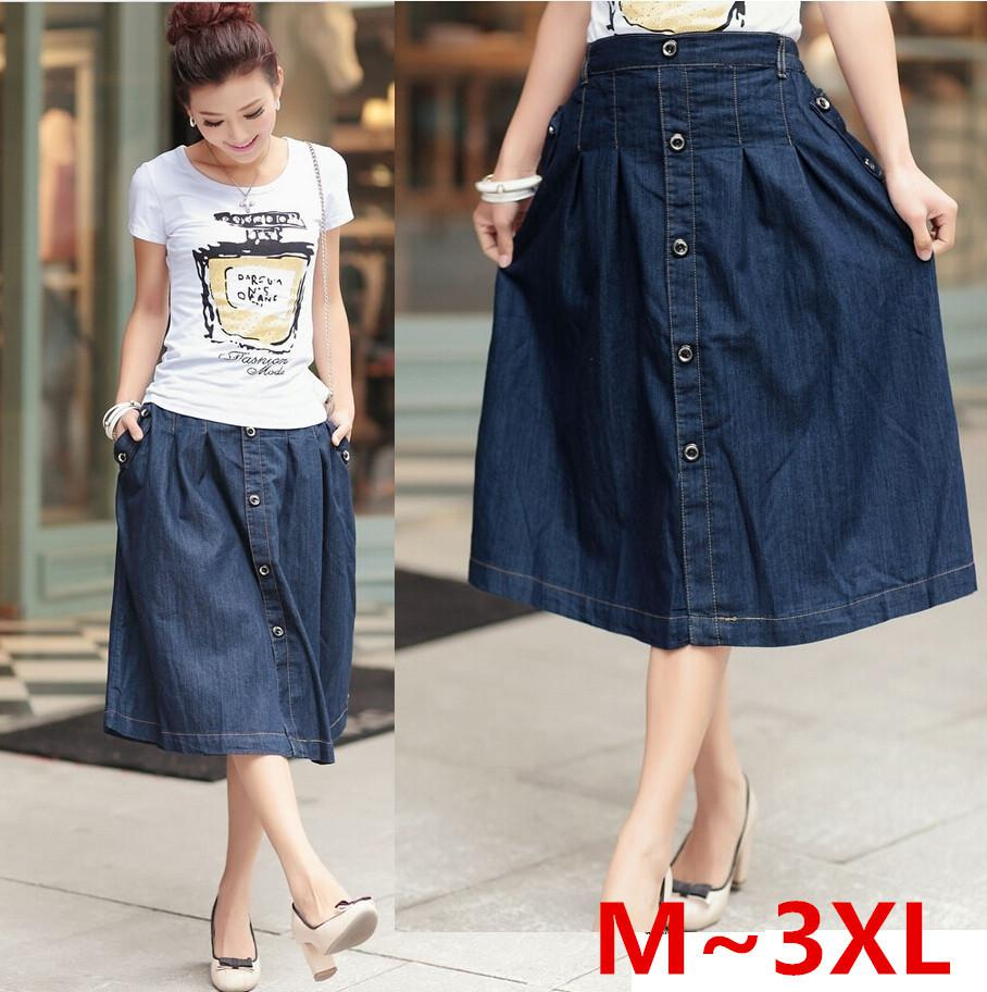 2017 Wholesale 2015 Korean Women Casual Denim Skirts Plus Size M ...