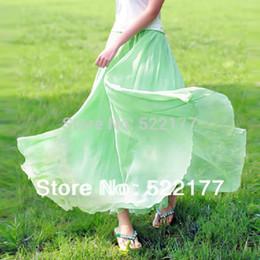 Bohême plissé jupe longue à vendre-Gros-Livraison gratuite 2015 Automne Femmes Vert Bleu Plissé Expansion Slim Sac Jupes Fée en mousseline de soie Buste Jupes Bohemia élégantes Jupes longues