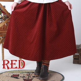 Wholesale Women s autumn and winter corduroy skirts Mori girls skirts dot print button belt adjustment Vintage college style