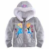 Wholesale Retail pc Kids Frozen Theme Autumn Clothing Anna amp Elsa Hooded Outwear Jacket Coat
