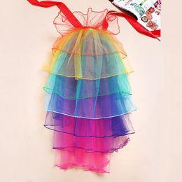 Wholesale Rainbow Neon Raver Clubbing Half Partly Bustle Ballet Dance Ruffle Costume Ribbon Tie Belt Skirt Party Fancy Skirt One size