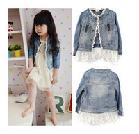 Girl baby jean jackets - New children baby clothing girls Long sleeve Lace Cowboy Jacket Button Costume Outfits Jean Coat