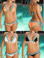 Wholesale For Women summer style Free size Lace Color Trikini Swimsuit Swimwear Bathing Suit No Padding Bikini bra amp underpants Sets