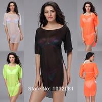 Wholesale Sexy women mesh sheer sarong pareo beach wear beach cover up bikini cover ups bathing suit swimwear swimsuit cangas de praia V68