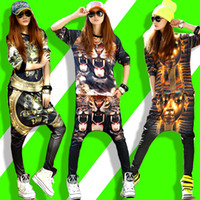 army dance costume - DJ Women D print Casual women Personalized Long sleeve harem Women sport suit Jogging Joggers hip hop dance costumes