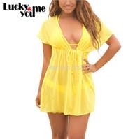 Wholesale Summer New Women Sheer Sexy Swimwear Bikinis Tunic Cover Ups Pullover Plus Size Blusas Camisas Beachwear Rashguard