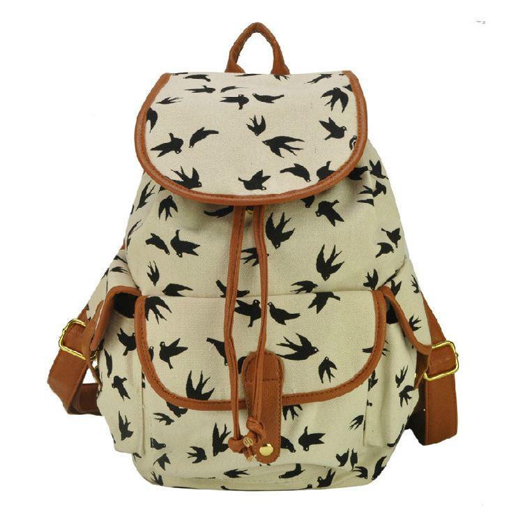 Wholesale Fashion Travel Backpacks Women Printed Canvas Backpack ...