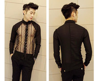 Cheap Wholesale-New Men's Sexy See Through Lace Lightweight Hot Rare Long Sleeve Slim Shirt Top Casual Shirt Top