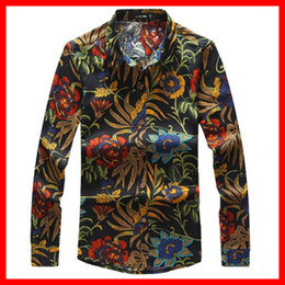 Wholesale-M-6XL , New Big Tall Men's Fashion Flower Printing Long Sleeve Shirt ,Men's Slim Fit Casual Linen Shirt ,G4087