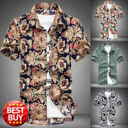 Wholesale-New Men Shirt Short Sleeve Summer Mens Slim Fit Floral Shirt Casual Mens Dress Shirt Beach Outdoors Fashion Dress Xxxxl