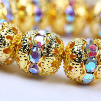 Wholesale 10MM Crystal AB Color Rhinestones Balls Fashion Globose Crystal Spacers Gold Plated Findings