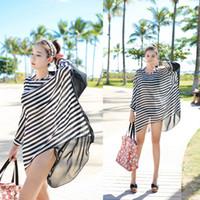 Cheap Wholesale-New Sexy Women Chiffon Dress Black White Stripes Beachwear Beach Bikini Oversized Swimwear Smock beach cover up Top Quality