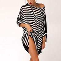Wholesale New Sexy Swimwear Beach Cover up Smock Blouse Beach Wear Womens Beachwear Oversized Black White Stripes