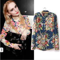 Stand Regular Rayon Wholesale-2015 New S-XL women Vintage full Floral Print Long Sleeve Blouse Shirts lady fashion flower chiffon Shirt blouses top
