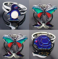 Wholesale Mixed Different Butterfly animal star change color mood ring Rings size Adjustable