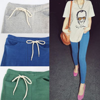 Wholesale COLORS New Autumn Women s Pants Fashion Sports Loose Pants Candy Color Lacing Pocket Ankle Length Trousers Leggings