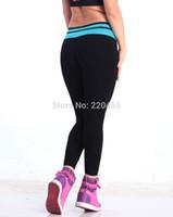Wholesale iLoveSIA Womens Leggings Active Capri long Pants Running Sports workout Trousers Patchwork Elastic Mid Rise V Waist