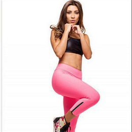 Wholesale-New Sexy Fashion Capris Women Empire Zipper Design Women Running Pants High Waist Cropped Leggings Fitness