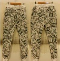 Wholesale Mikeal men women d pants casual fashion dollars printed paper money men s Long Length trousers Cartoon size s xl p3
