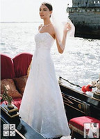 Wholesale David s Bridal Allover lace A line gown with beaded motif detail Style WG9821