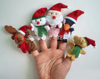 Unisex 8-11 Years . Wholesale-5 Pcs lot kids finger toys Christmas Santa Claus Children Educational Story-telling Toy Plush Puppet Finger Toys