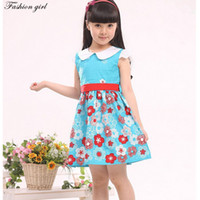 TuTu Spring / Autumn A-Line Wholesale-Dresses girls 2015 clothes for teen girls Fashion casual floral Bow 100% Cotton Teenage girls dresses kd 4-15 age