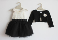 Wholesale branded spring and autumn girl dress for party with cardigan with flower kids dress