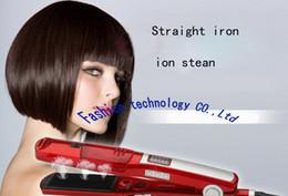 Salones para alisar el cabello en Línea-Sistema de vapor al por mayor-VerygoodQuality que endereza los hierros Herramientas que labran (Titanium Ceramic), salón profesional y uso de la familia, pelo resbaladizo
