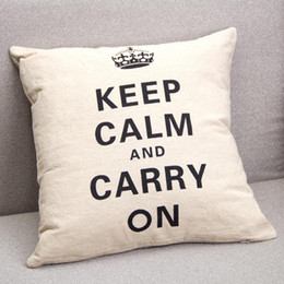 Wholesale cm cm Linen Cotton Keep Calm or Carry On Beige Pillow Case Cushion Cover Home Accessories New Style