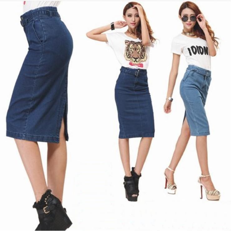 Discount Denim Midi Pencil Skirt | 2017 Denim Midi Pencil Skirt on ...